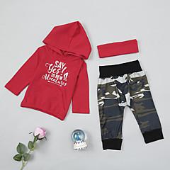 billige Sett med babyklær-Baby Pige Basale Daglig Trykt mønster Trykt mønster Langærmet Normal Bomuld / Spandex Tøjsæt Rød 100