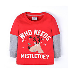 billige Babyoverdele-Baby Pige Basale Daglig Ensfarvet Langærmet Normal Bomuld / Polyester T-shirt Rød