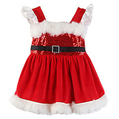 billige Babytøj-Baby Pige Aktiv / Basale Jul / Daglig Ensfarvet Pailletter / Pelskrave Uden ærmer Bomuld / Spandex Bodysuit Rød