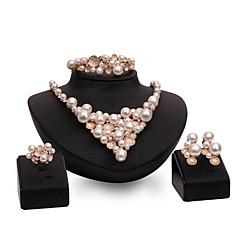 tanie Biżuteria damska-Damskie Perła Klasyczny Biżuteria Ustaw - Sztuczna perła damska, Elegancki, Klasyczny, Hiperbola Zawierać Bransoletki i łańcuszki na rękę Kolczyki sztyfty Naszyjniki Pierścień Złoty Na Przyjęcie