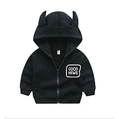 billige Hættetrøjer og sweatshirts til drenge-Baby Drenge Basale Trykt mønster Langærmet Bomuld Hættetrøje og sweatshirt Sort