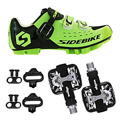 billige Sykkelsko-SIDEBIKE Voksne Sykkelsko med pedal og tåjern / Mountain Bike-sko Nylon Demping Sykling Grønn / Svart Herre Sykkelsko / Krok og øye