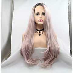 cheap Wigs & Hair Pieces-Synthetic Lace Front Wig Women's Loose Curl Black Layered Haircut 130% Density Kanekalon 24 inch Women Black / Pink Wig Long Lace Front Black / Pink Sylvia