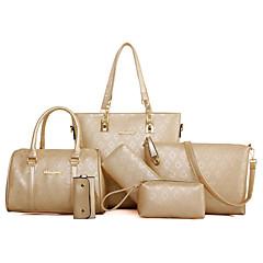 422f13ce2c6d Women s Bags PU(Polyurethane) Bag Set 6 Pieces Purse Set Embossed Gold    Black   Beige