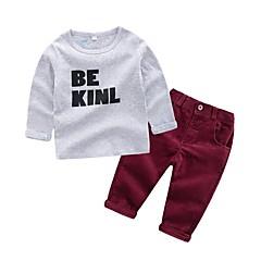 hesapli Bebekl Kıyafetleri Erkek Çocukları-Bebek Genç Erkek Temel Günlük Solid Uzun Kollu Normal Pamuklu Kıyafet Seti Gri / Toddler