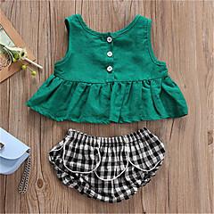 billige Sett med babyklær-Baby Pige Aktiv / Gade Daglig / Sport Patchwork Patchwork Uden ærmer Normal Normal Bomuld / Spandex Tøjsæt Grøn