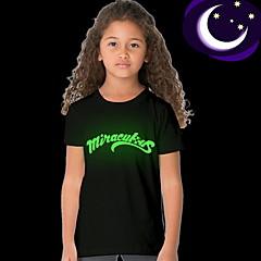 billige Pigetoppe-Børn Pige Gade Trykt mønster Kortærmet Normal Polyester T-shirt Sort
