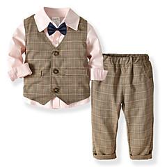 Недорогие Одежда для мальчиков-Дети Мальчики Классический Повседневные Однотонный Длинный рукав Обычный Обычная Полиэстер Набор одежды Синий