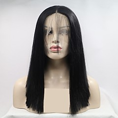 cheap Wigs & Hair Pieces-Synthetic Lace Front Wig Women's kinky Straight Black Layered Haircut 130% Density Synthetic Hair 16 inch Women Black Wig Short Lace Front Natural Black Sylvia