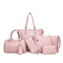37e582602376 Women s Bags PU(Polyurethane) Bag Set 6 Pieces Purse Set Gray   Red   Brown