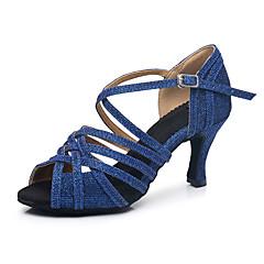 Per donna Scarpe per balli latini Sintetico Tacchi Tacco cubano Personalizzabile Scarpe da ballo blu navy