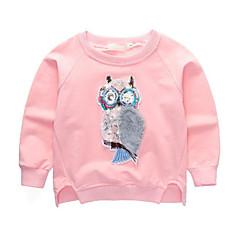 billige Hættetrøjer og sweatshirts til babyer-Baby Pige Aktiv / Gade Daglig / I-byen-tøj Ugle Patchwork Langærmet Normal Rayon Hættetrøje og sweatshirt Lyserød