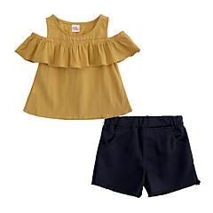 billige Tøjsæt til piger-Børn / Baby Pige Gade Daglig / I-byen-tøj Ensfarvet Uden ærmer Bomuld / Polyester Tøjsæt Gul