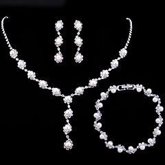 billige Smykke Sett-Dame Tenniskjede Smykkesett - Imitert Perle Bølge Enkel, Europeisk, Elegant Inkludere Brude smykker sett Hvit Til Bryllup Gave