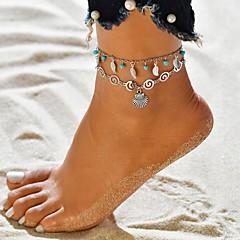 billige Kropssmykker-Dame Multi Layer fotlenke - Sølvplett Tropisk Smykker Sølv Til Bryllup Engasjement Gate Bikini Festival