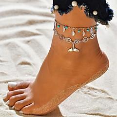 billige Kropssmykker-Dame Multi Layer fotlenke - Sølvplett Tropisk Smykker Sølv Til Bryllup Engasjement Gate Klubb Bikini