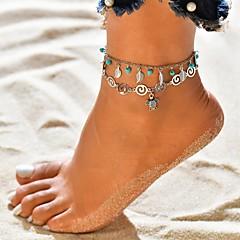 billige Kropssmykker-Dame Multi Layer fotlenke - Tropisk Smykker Sølv Til Bryllup Gate Ferie Bursdag Bikini