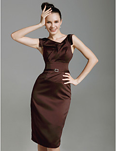 Sheath / Column V-neck Knee Length Stretch Satin Cocktail Party Dress with Crystal Brooch by TS Couture®