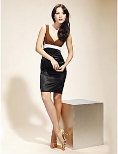 billiga Cocktailklänningar-Åtsmitande V-hals remmar Kort / mini Chiffong Satäng Cocktailfest Återföreningsfest Klänning med Knappar Sidodraperad av TS Couture®