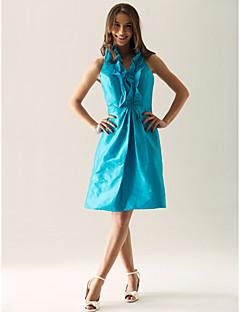 billiga Cocktailklänningar-A-linje / Prinsessa V-hals / Halterneck Knälång Taft Cocktailfest Klänning med Sidodraperad / Krusad av TS Couture®