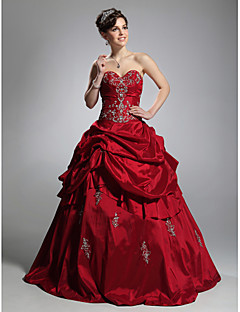 볼 가운 strapless 연인 마루 길이 taffeta prom dress with appliques ts couture®