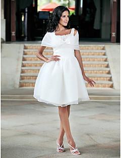 billiga Balbrudklänningar-Balklänning Fyrkantig hals Knälång Organza / Taft Bröllopsklänningar tillverkade med Rosett / Spets av LAN TING BRIDE® / Ja