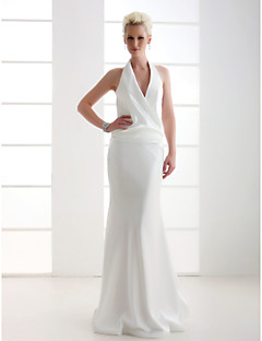 cheap True Allure-Sheath / Column V Neck Floor Length Stretch Satin Wedding Dress with Side-Draped by LAN TING BRIDE®