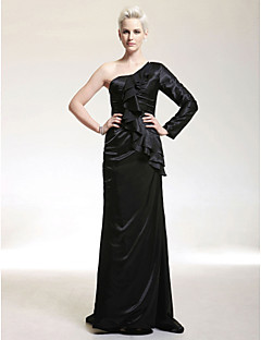 billiga Kändisklänningar-elastiskt satin mantel / kolumn ena axeln svep / borste tåget aftonklänning inspirerad av Bryce Dallas Howard