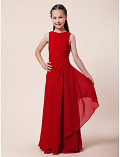 A-Line Sheath / Column Bateau Neck Floor Length Chiffon Junior Bridesmaid Dress with Beading Side Draping by LAN TING BRIDE®