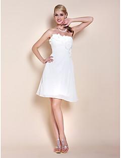 billiga Klänningar till speciella tillfällen-A-linje Axelbandslös Knälång Chiffong Cocktailfest Klänning med Bård / Sidodraperad av TS Couture®