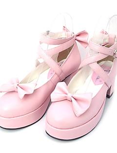 billiga Lolitamode-Skor Söt Lolita Söt Lolita Prinsessa Högklackat Skor Rosett 6.5 CM Svart Rosa Till PU-läder/Polyuretan Läder Polyuretan Läder