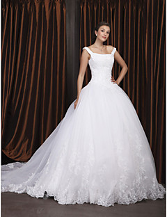 cheap High-end Wedding Dresses-Ball Gown Off Shoulder / Straight Neckline Chapel Train Organza / Floral Lace Made-To-Measure Wedding Dresses with Beading / Appliques by