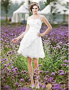billiga A-linjeformade brudklänningar-A-linje Smala axelband Knälång Spets Taft Bröllopsklänning med Bård Sidodraperad Krås av LAN TING BRIDE®