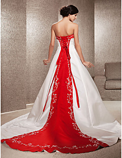 cheap Wedding Dresses UK-A-Line / Princess Strapless Cathedral Train Satin Made-To-Measure Wedding Dresses with Appliques / Embroidery by LAN TING BRIDE®