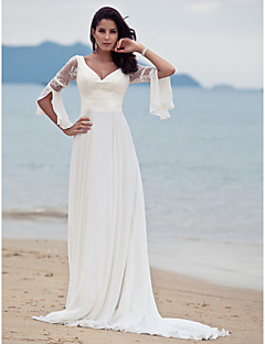 cheap Beach & Honeymoon Dresses-A-Line V Neck Court Train Chiffon Floral Lace Custom Wedding Dresses with Lace by LAN TING BRIDE®