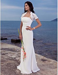 billiga Imperiumbrudklänningar-Trumpet / sjöjungfru Axelbandslös Svepsläp Chiffong Bröllopsklänningar tillverkade med Veckad av LAN TING BRIDE® / Ja