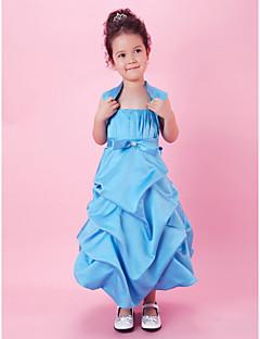 tanie Ubiór ślubny dla dzieci-A-line suknia wieczorowa suknia wieczorowa - sukienka kwiatowa - satynowe ramiączka spaghetti bez szwów