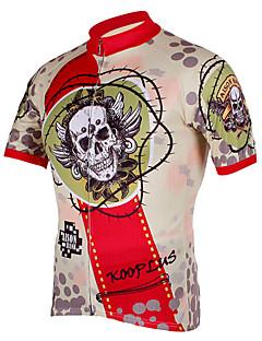 Kooplus サイクリングジャージー 男性用 半袖 バイク ジャージー トップス サイクルウェア 速乾性 フロントファスナー 高通気性 スカル サイクリング / バイク