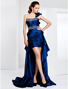 Sheath / Column One Shoulder Short / Mini Asymmetrical Sweep / Brush Train Taffeta Evening Dress with Crystal by TS Couture®