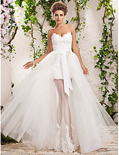 cheap Wedding Dresses UK-A-Line / Princess Sweetheart Neckline Floor Length Tulle Made-To-Measure Wedding Dresses with Appliques by LAN TING BRIDE®