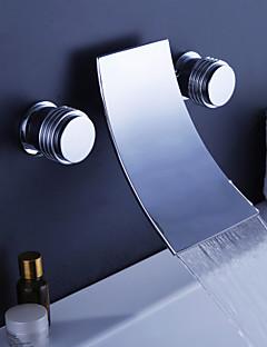 tanie Wodospad-Bateria Wannowa - Wodospad Chrom Przytwierdzony do ściany Dwa uchwyty trzy otwory