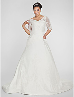 A-Line V-neck Chapel Train Taffeta Wedding Dress with Beading Appliques Side-Draped by LAN TING BRIDE®