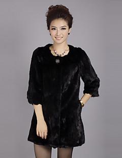 billige Outlets-3/4 ærme krave Evening Mink Fur Coat