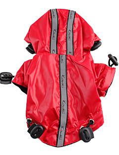 billiga Hundkläder-Hund Regnjacka Hundkläder Enfärgad Svart / Röd Nylon Kostym För husdjur Sommar Herr / Dam Vattentät