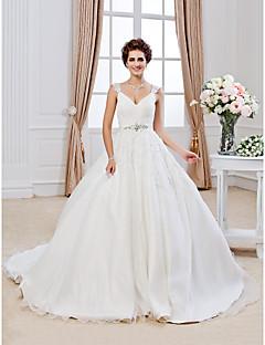 Ballkjole V-hals Kapellslep Organza Bryllupskjole med Perlearbeid Appliqué av LAN TING BRIDE®