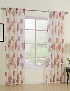 billige Forede Gardiner-Stanglomme Propp Topp Fane Top Dobbelt Plissert To paneler Window Treatment Land, Trykk Soverom Polyester Materiale Gardiner Skygge Hjem