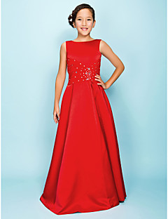 cheap Junior Bridesmaid Dresses-A-Line Princess Bateau Neck Floor Length Satin Junior Bridesmaid Dress with Beading Draping Criss Cross by LAN TING BRIDE®