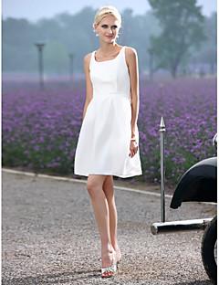 billiga Prinsessbrudklänningar-A-linje Scoop Neck Kort / mini Taft Bröllopsklänningar tillverkade med Draperad / Bälte / band av LAN TING BRIDE® / Liten vit klänning