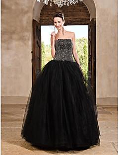 זול שמלות לאירועים מיוחדים-נשף סטרפלס עד הריצפה סאטן טול ערב רישמי / בת מצווה שמלה עם חרוזים פרטים מקריסטל על ידי TS Couture®