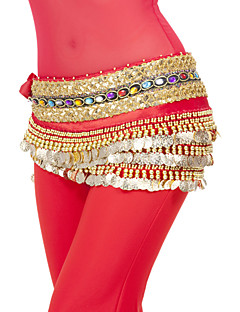 Belly Dance Hip Scarves Women's Performance Training Polyester Coins Sequins 1 Piece Natural Hip Scarf